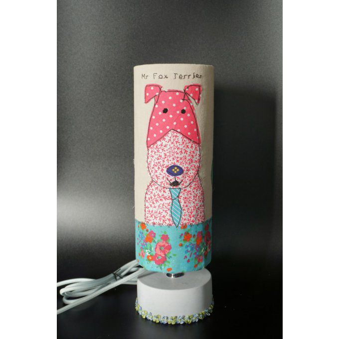 Lampe Mr Fox Terrier abat-jour fait main